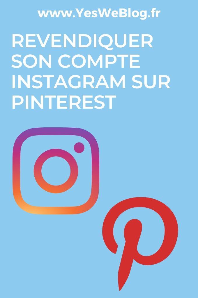 Revendiquer son compte Instagram sur Pinterest