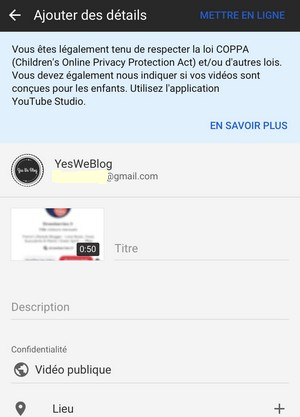 SAISIE infos relatives video youtube sur iphone