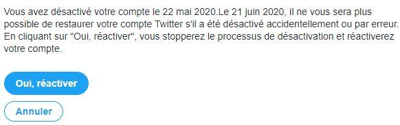 réactivation compte twitter