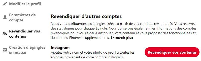 revendiquer un compte instagram sur compte pinterest