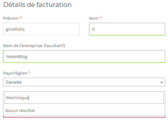 details facturation pays region woocommerce