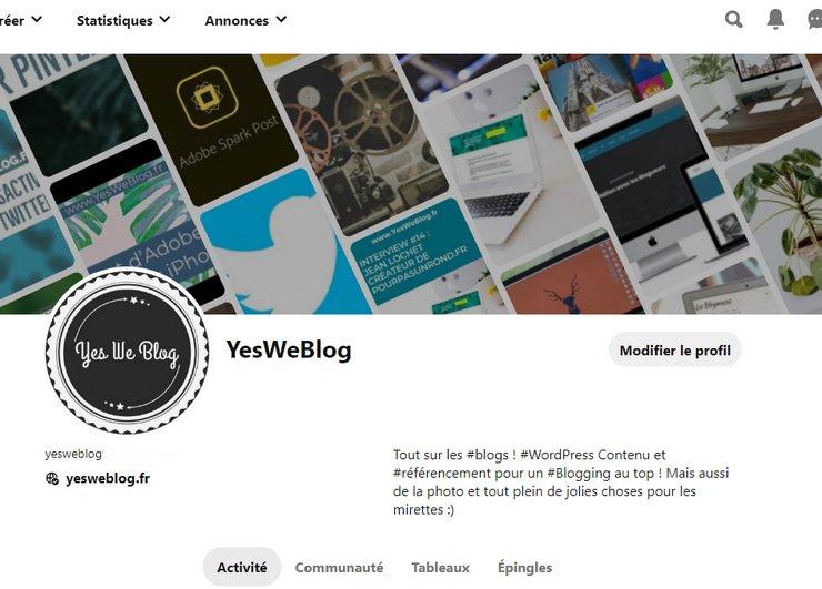 profil pinterest yesweblog