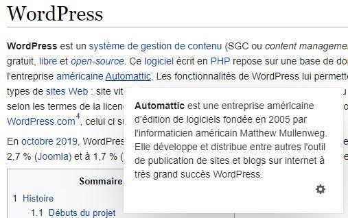 info bulle wikipedia survol lien