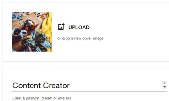 upload a new cover image keen